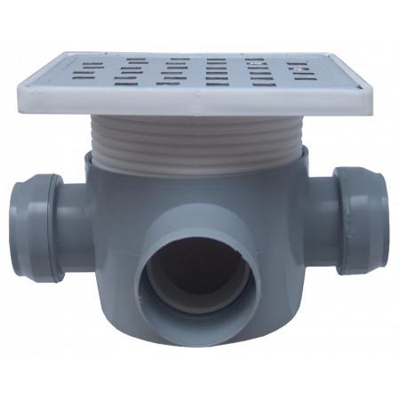 Sifon Pardoseala Patrat cu Inaltator SL 2 Intrari 90 grade SP-H75-160-3 / Hmin-max[mm]: 95/125; Dev[mm]: 50; Di[mm]: 40