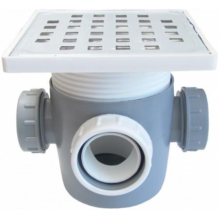 Sifon Pardoseala Patrat cu Inaltator SL 3 Intrari SP-H110-130-1 / Hmin-max[mm]: 115/145; Dev[mm]: 50; Di[mm]: 40