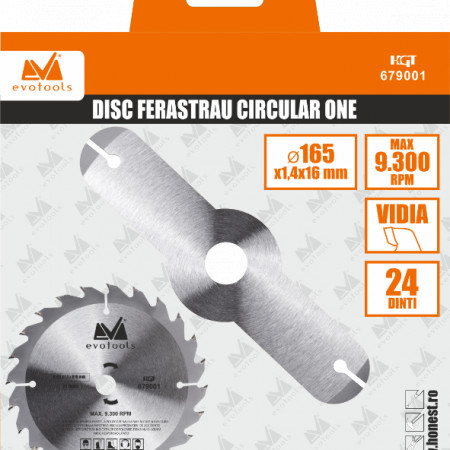 Disc Ferastrau Circular ONE EPTO / D[mm]: 165; g[mm]: 1.4; di[mm]: 16; N[#]: 24T; C: 678488
