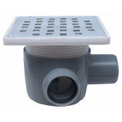 Sifon Pardoseala Patrat cu Inaltator SL 1 Intrare 90 grade Dreapta SP-H75-150-2 / Hmin-max[mm]: 95/125; Dev[mm]: 50; Di[mm]: 40