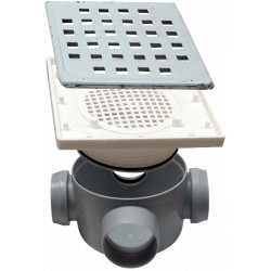 Sifon Pardoseala Patrat cu Inaltator SL 3 Intrari SP-H80-340L50-1 / Hmin-max[mm]: 95/125; Dev[mm]: 50; Di[mm]: 40