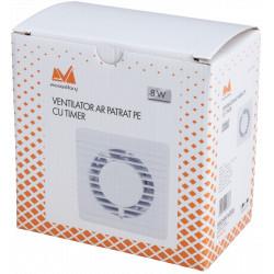 Ventilator AR Patrat PE / d[mm]: 135x135; D[mm]: 100; P[W]: 8; Tip: cu Timer; Da[mc/h]: 93