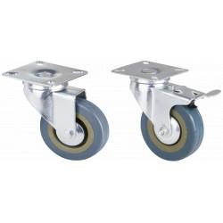 Roata Pivotanta cu Flansa din PVC Gri pentru Mobilier / D[mm]: 75; Tip: Cu Frana; S[kg]: 35
