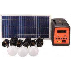 Kit Iluminare LED cu Incarcare Solara 3 Becuri si Port USB. / P[W]: 3x3; Pp[W]: 30