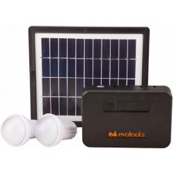 Kit Iluminare LED cu Incarcare Solara 2 Becuri si Port USB / P[W]: 1x2; Pp[W]: 4