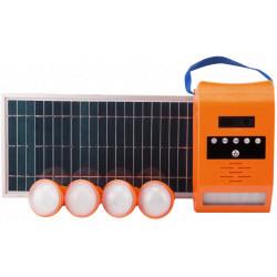 Kit Iluminare LED cu Incarcare Solara Lampa de Perete 4 Becuri Port USB si Radio FM / P[W]: 2x4; Pp[W]: 8