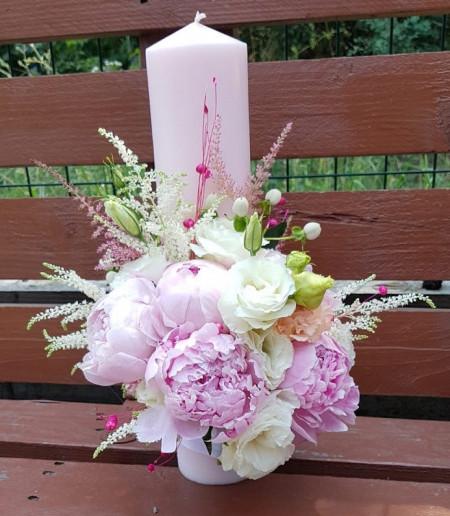 lumanare-botez-bujori-roz-pentru-fata