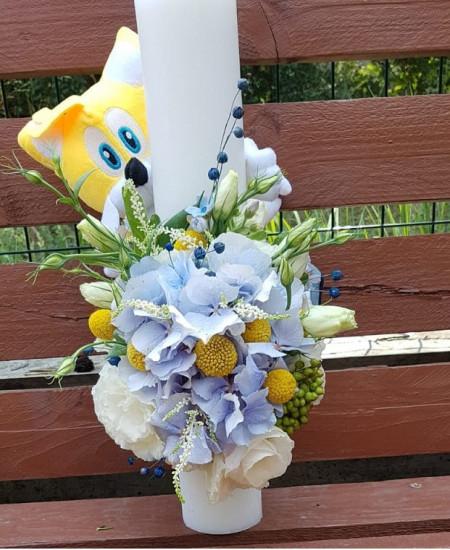 Lumanare-botez-pentru-baiat-flori-naturale