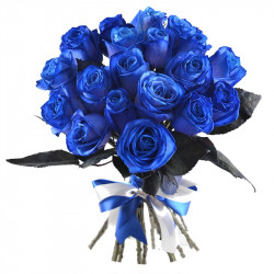 Buchet cu 19 Trandafiri albastri