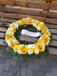 Coroana funerara mare cu flori galbene 70cm