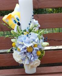Lumanare de botez pentru baiat cu flori naturale