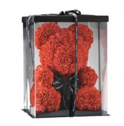 Ursulet din trandafiri rosii 40 cm