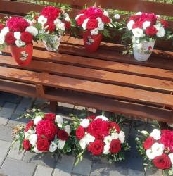 Aranjament floral pentru masa invitati botez / nunta
