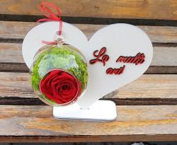 Aranjament inimă cu trandafir criogenat si mesaj personalizat
