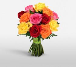 Buchet 15 trandafiri colorati