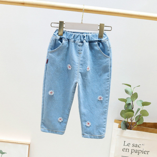 Jeans cu detalii Felni Albastru deschis