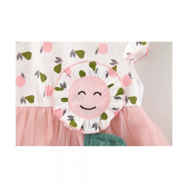 Rochie cu detalii Floricica - Roz