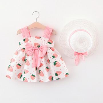 Rochie cu imprimeu + palarie Capsunica Roz