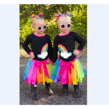 Set tricou + fusta tutu Rainbow