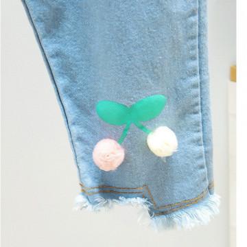 Jeans cu detalii Sabia Pompom