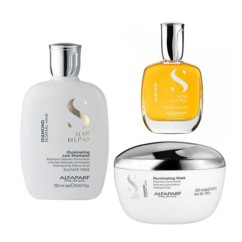 Set Alfaparf Semi Di Lino Diamond Iluminating cu 250 ml Sampon + 200 ml Masca + 50 ml Serum
