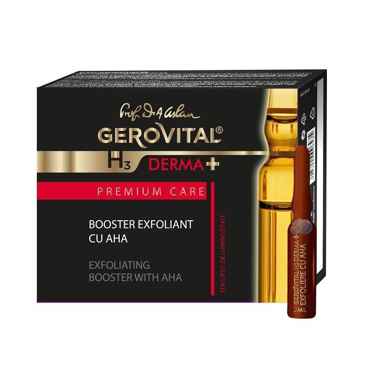 Booster exfoliant cu AHA Gerovital H3 Derma+ Premium Care, 4 fiole