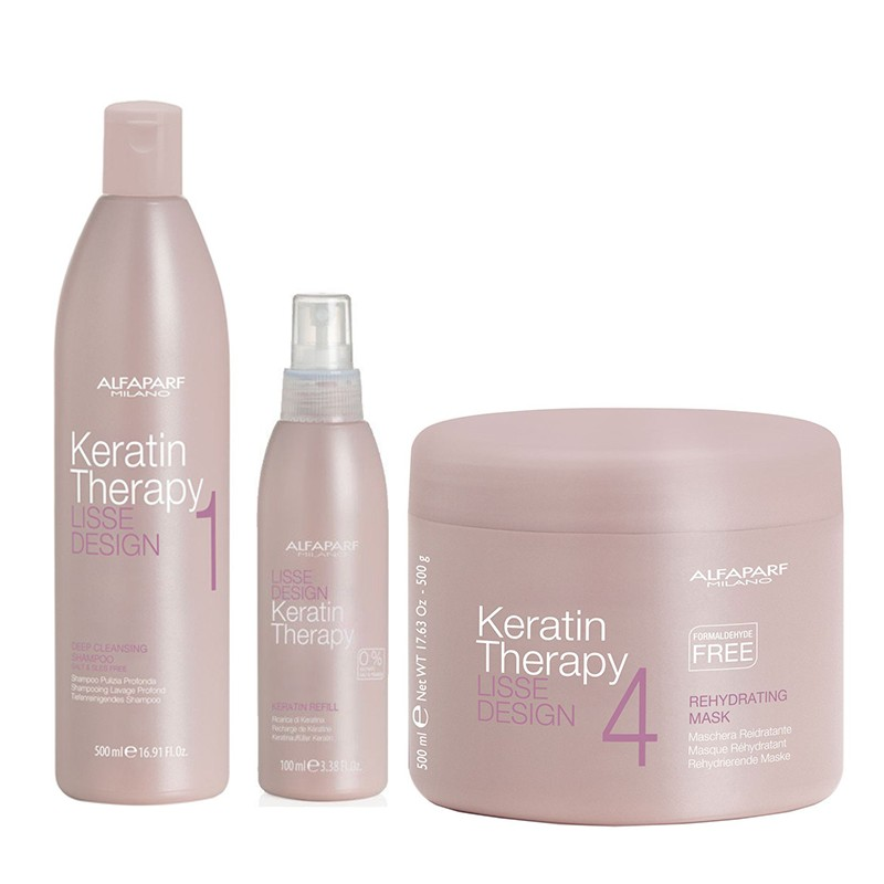 Set Alfaparf Lisse Design Keratin cu 500 ml Sampon + 100 ml Milk + 500 ml Masca de par