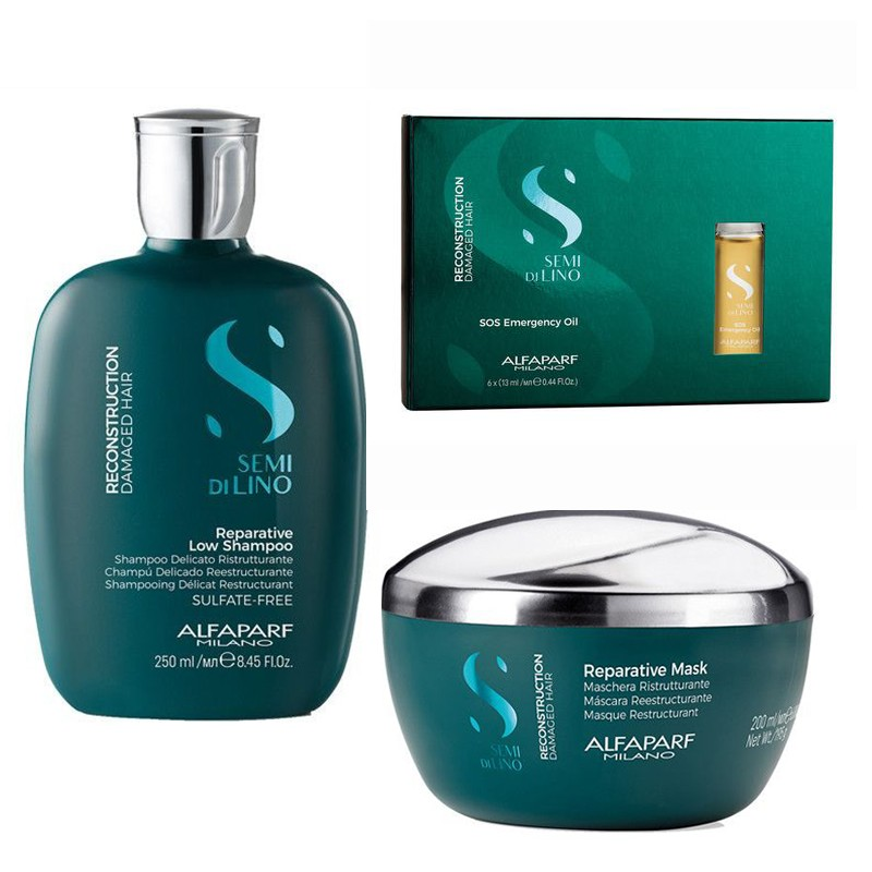 Set Alfaparf Semi Di Lino Reconstruction cu 250 ml Sampon + 200 ml Masca + 6x13 ml Serum