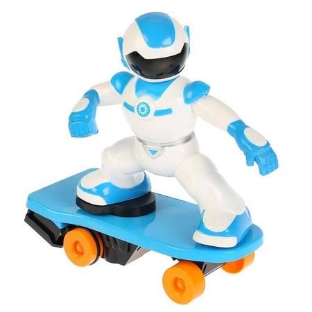 Robot interactiv pe skateboard cu telecomanda, lumini si sunete