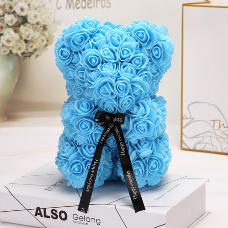 Ursulet floral din Trandafiri de spuma 25 cm, cu funda, in cutie cadou