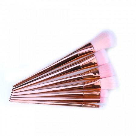 Set 7 pensule profesionale pentru machiaj Rose Gold