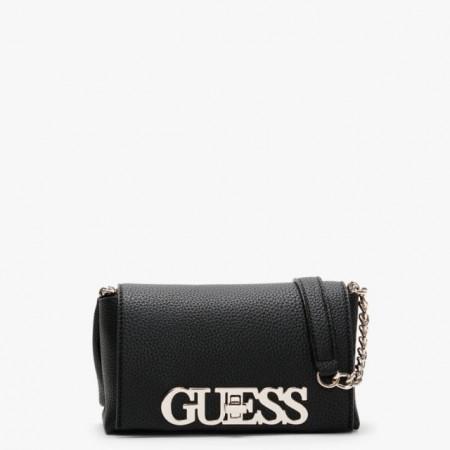 Geanta Guess, crossbody mica, cu logo metalic Uptown Chic, Negru/Silver