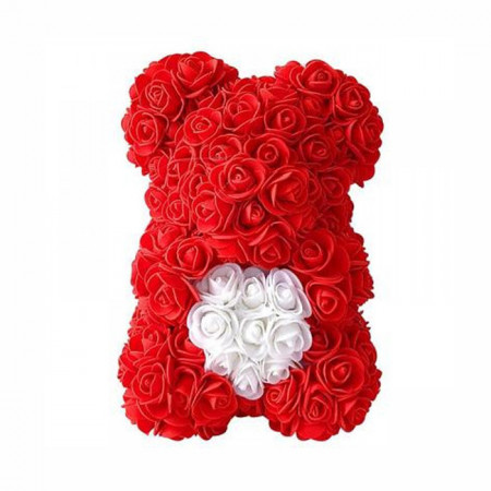 Ursulet din trandafiri rosii de spuma, in cutie cadou cu funda, 25 cm