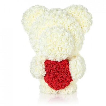 Ursulet din trandafiri albi de sapun cu inima rosie, in cutie cadou cu funda, 55 cm