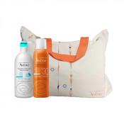 Pachet Avene Spray protectie solara adulti SPF 30 200 ml + Gel reparator dupa plaja Avene 400 ml + Geanta de plaja cadou
