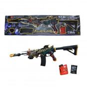 Pusca de jucarie, model Mortal Kombat, cu bile de apa, tinta mobila, 75 cm