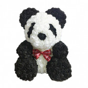 Ursulet floral Panda 70 cm decorat manual cu trandafiri spuma, cutie cadou