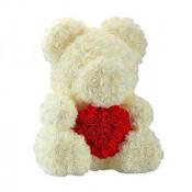 Ursulet trandafiri de spuma cu inima, in cutie cadou cu funda, 40 cm