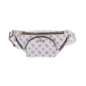Geanta belt bag Guess, Model Utility Vibe alb cu imprimeu logo