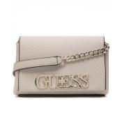 Geanta Guess, crossbody mica, cu logo metalic Uptown Chic, Bej