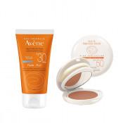 Pachet Avene Crema nuantatoare Avene Compact SPF 50, Fluid pentru protectie solara SPF 30+