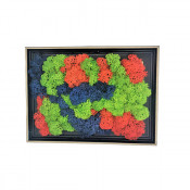 Tablou decorativ cu licheni stabilizati, model padure, 19x14 cm