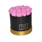 Aranjament floral cutie rotunda neagra cu trandafiri de sapun roz
