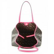 Geanta shopper pentru femei cu etui interior Vikky, Maro inchis/Roz neon