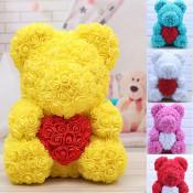 Ursulet Rose Bear din Trandafiri de spuma cu inima, in cutie cu funda, 40 cm