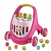 Antepremergator cu cutie de depozitare jucarii ABERO Elantra Baby Walker roz