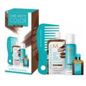 Moroccanoil Care Meets Color Cocoa: Masca de par nuantatoare, 30 ml + Ulei de par tratament Original, 15ml + Sampon uscat Dark, 62ml + Pieptene cu dinti rari pentru aplicarea mastii