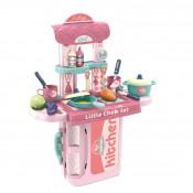 Bucatarie Troller de Jucarie 3 in 1 Little Chefs cu accesorii, roz