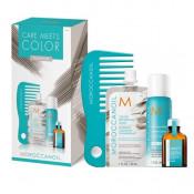 Moroccanoil Care Meets Color Platinum: Masca de par nuantatoare Platinum, 30ml + Ulei de par tratament Light, 15ml + Sampon uscat Light 62ml + Pieptene cu dinti rari pentru aplicarea mastii