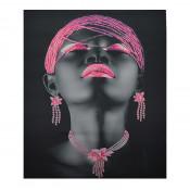 Tablou LED canvas Pink Beads cu leduri lumini 85 x 64 cm